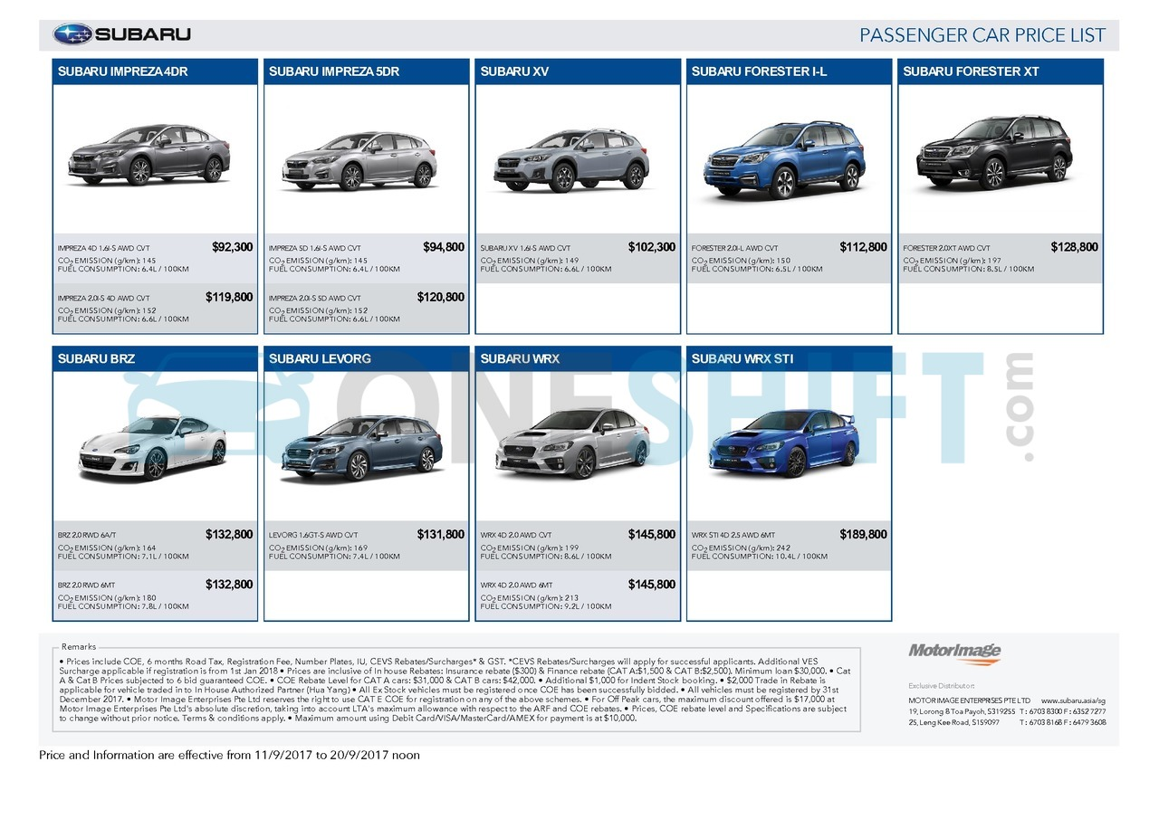 subaru Price List 9-11-2017 Page 1