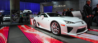 Despite having been around for a number of years now, the LFA still garners quite a bit of attention at the Motorshow. Mostly due to its rarity. This example here is probably a customer vehicle considering its serial number is in the 4## range.