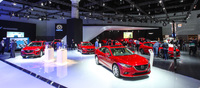 The Mazda booth looked splendid with all the different models decked out in the same colour scheme.