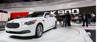 The KIA K900 is the Korean company's latest flagship model and it is every bit as handsome as one would expect of a top of the line automobile. The large 19-inch multispoke rims do a good job of keeping the large body proportionate. Powered by both a V6 and V8 engines, this large sedan is no slouch.