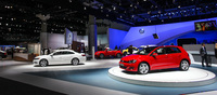 The Germans have had a lot of experience at motorshows and it shows. Here, Volkswagen shares a part of the grandeur from the Frankfurt show with LA.