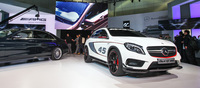 Sharing the same powertrain from the CLA45 and A45 AMG, the GLA45 concept is much beefier in dimensions but no less potent. Claiming a sub five second 0-100kmh time comparable to its donor cars.