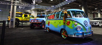 The L.A. Motorshow caters to a wide ranging audience and the aftermarket section is a perfect place to find all kinds of radical creations. Like a 70s VW truck in Scooby Doo's theme colours.