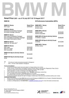 bmw-m-series Price List 7-19-2017 Page 1
