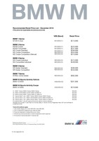 bmw-m-series Price List 12-7-2018 Page 1