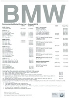 bmw Price List 8-22-2016 Page 1