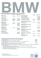 bmw Price List 4-30-2017 Page 1