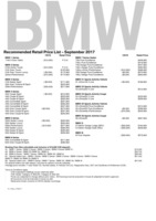 bmw Price List 9-22-2017 Page 1
