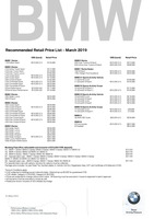 bmw Price List 3-21-2019 Page 1