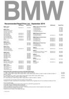 bmw Price List 9-19-2019 Page 1