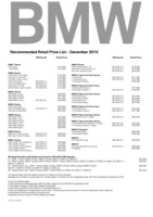 bmw Price List 12-19-2019 Page 1