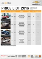 chevrolet Price List 6-23-2016 Page 1