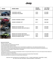 jeep Price List 7-21-2016 Page 1