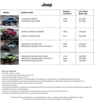 jeep Price List 8-18-2016 Page 1