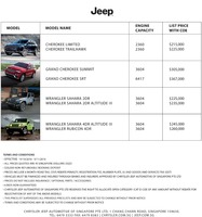 jeep Price List 10-20-2016 Page 1