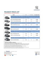 peugeot Price List 8-21-2015 Page 1