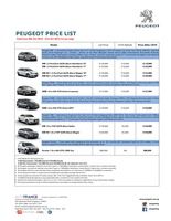 peugeot Price List 10-9-2015 Page 1
