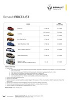renault Price List 11-20-2015 Page 1