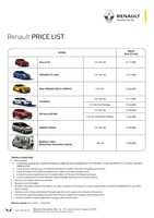 renault Price List 7-23-2016 Page 1
