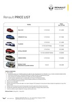 renault Price List 8-19-2016 Page 1