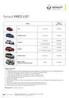 renault Price List 9-23-2016 Page 1