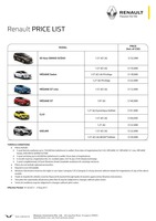 renault Price List 7-21-2017 Page 1