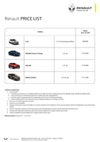 renault Price List 9-21-2017 Page 1