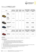 renault Price List 3-16-2018 Page 1