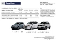 ssangyong Price List 1-26-2015 Page 1