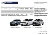 ssangyong Price List 3-19-2015 Page 1