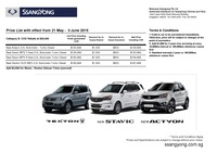 ssangyong Price List 5-22-2015 Page 1