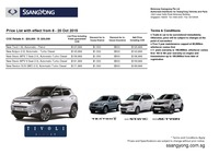 ssangyong Price List 10-9-2015 Page 1