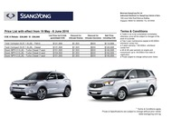 ssangyong Price List 5-24-2016 Page 1