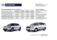 ssangyong Price List 6-24-2016 Page 1