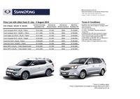 ssangyong Price List 7-21-2016 Page 1