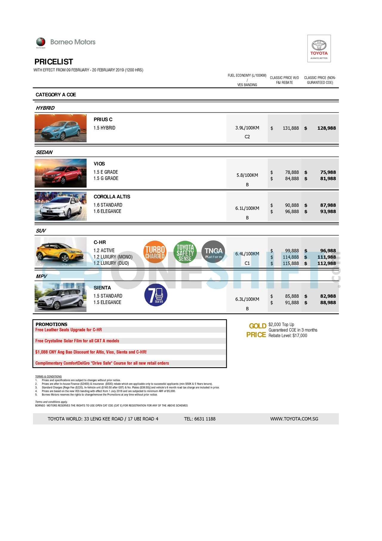 toyota Price List 2-11-2019 Page 1