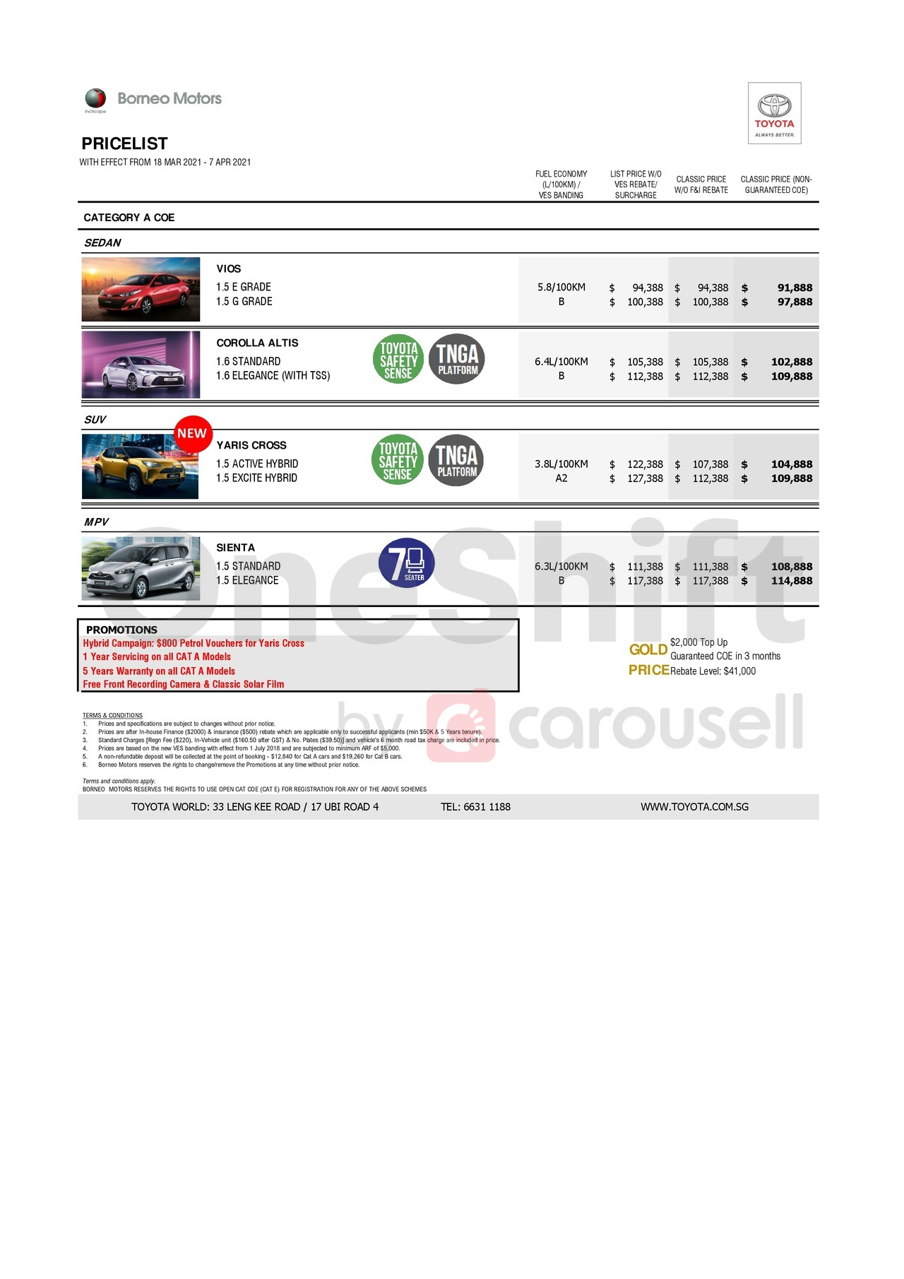 toyota Price List 4-6-2021 Page 1